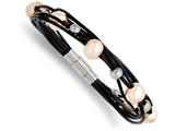 Chisel Stainless Steel Black Leather W/simulated Pearls 7.5in Bracelet style: SRB87275