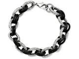 Chisel Stainless Steel Textured and Black Rubber 9in Bracelet style: SRB9049