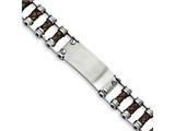 Chisel Stainless Steel Brown Leather With Id Plate Bracelet style: SRB9099