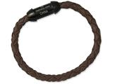 Chisel Stainless Steel Genuine Leather Interchangeable 8.5in Bracelet style: SRB95185