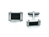Chisel Stainless Steel Black Carbon Fiber Rectangle Cuff Links style: SRC101