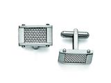 Chisel Stainless Steel Grey Carbon Fiber Rectangle Cuff Links