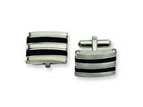 Chisel Stainless Steel Black Rubber Cuff Links style: SRC139