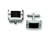 Chisel Stainless Steel Black Mesh Inlay Cuff Links style: SRC180
