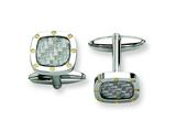 Chisel Stainless Steel Grey Carbon Fiber With Yellow Ip-plated Cuff Links style: SRC182