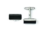 Chisel Stainless Steel Black Agate Polished Cuff Links style: SRC226