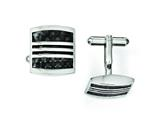 Chisel Stainless Steel Black Carbon Fiber and Black Enamel Cuff Links style: SRC232