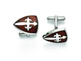 Chisel Stainless Steel Polished and Wood Inlay Cuff Links style: SRC236