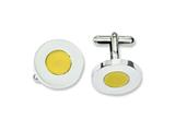 Chisel Stainless Steel Polished and Yellow Ip-plated Circle Cuff Links style: SRC237