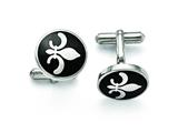 Chisel Stainless Steel Black Enamel With Fleur De Lis Cuff Links style: SRC238