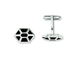 Chisel Stainless Steel Black Enamel and Polished Cuff Links style: SRC239