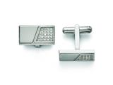 Chisel Stainless Steel Polished With Cz Cuff Links style: SRC254