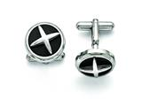 Chisel Stainless Steel Polished Enameled X Cuff Links style: SRC261
