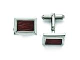 Chisel Stainless Steel Polished With Wood Inlay Cuff Links style: SRC264