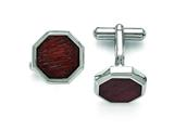Chisel Stainless Steel Polished Wood Inlay Cuff Links style: SRC265