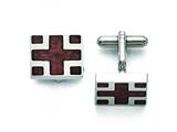 Chisel Stainless Steel Polished Wood Inlay Cuff Links style: SRC266