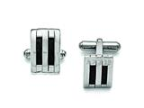 Chisel Stainless Steel Polished Black Carbon Fiber Inlay Cuff Links style: SRC267