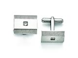 Chisel Stainless Steel Polished And Brushed Cz Cuff Links style: SRC269