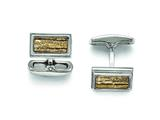 Chisel Stainless Steel Polished Creme/black Enameled Cuff Links style: SRC271