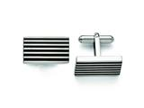 Chisel Stainless Steel Brushed Black Rubber Cuff Links style: SRC272