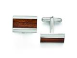 Chisel Stainless Steel Polished Wood Inlay Enameled Cuff Links style: SRC273