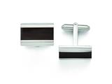 Chisel Stainless Steel Polished Black Wood Inlay Enameled Cuff Links style: SRC277