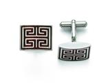 Chisel Stainless Steel Polished Wood Inlay Cuff Links style: SRC278
