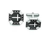 Chisel Stainless Steel Matte Black Ip-plated Cross Cuff Links style: SRC287