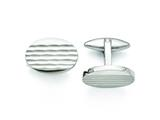Chisel Stainless Steel Polished And Matte Oval Cuff Links style: SRC290