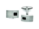 Chisel Stainless Steel Polished And Brushed Black Carbon Fiber Cuff Links style: SRC293