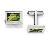 Chisel Stainless Steel Polished Printed Green Camo Under Rubber Cuff Links style: SRC296