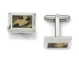 Chisel Stainless Steel Polished Printed Brown Camo Under Rubber Cuff Links style: SRC297