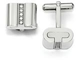 Chisel Stainless Steel Brushed And Polished With Cz Square Cuff Links style: SRC299