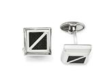 Chisel Stainless Steel Polished With Black Carbon Fiber Square Cuff Links style: SRC301