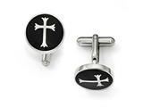 Chisel Stainless Steel Polished Black Enamel Cuff Links style: SRC302
