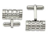 Chisel Stainless Steel Polished Grooved Cylinder Cuff Links style: SRC312