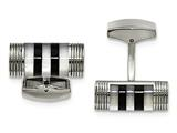 Chisel Stainless Steel Polished Mother Of Pearl And Onyx Cuff Links style: SRC317