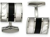 Chisel Stainless Steel Polished Black Semi-precious Stone and Mop Cuff Links style: SRC319