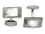 Chisel Stainless Steel Polished Mother Of Pearl Grooved Rectangle Cuff Links style: SRC320