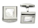 Chisel Stainless Steel Polished Mother Of Pearl Cuff Links style: SRC321