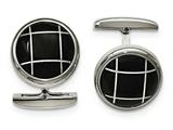 Chisel Stainless Steel Polished Black Semi-precious Stone Round Cuff Links style: SRC328
