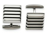 Chisel Stainless Steel Polished Black Rubber Square Cuff Links style: SRC331