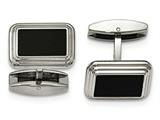 Chisel Stainless Steel Brushed/polished Black Ip Plated Cuff Links style: SRC333