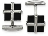 Chisel Stainless Steel Polished Black Ip Cz Square Cuff Links style: SRC336