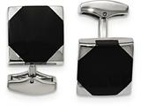 Chisel Stainless Steel Polished Black Rubber Square Cuff Links style: SRC337