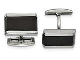 Chisel Stainless Steel Polished Black Onyx Rectangle Cuff Links style: SRC338