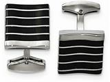 "Chisel Stainless Steel Polished Black Cat""s Eye Square Cuff Links style: SRC339"