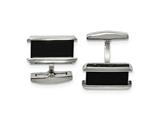 Chisel Stainless Steel Polished Black Ip-plated Rectangle Cuff Links style: SRC343