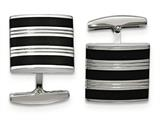 Chisel Stainless Steel Polished Grooved Black Rubber Stripes Cuff Links style: SRC345