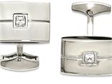 Chisel Stainless Steel Polished Cz Cuff Links style: SRC347